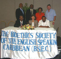 BSEC Executive Committee Left to rt front row - Derrick Aarons (Pres), Cheryl Macpherson (Vice Pres), Donald Simeon (Treasurer) back row- Anthony Frankson (Regional representative-north), Paul Ricketts (Regional representative- South-east), Eileen Boxhill (Regional representative- West), Ralph Robinson (Secy)