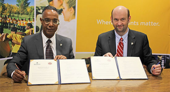 (left to right) Brandon University President, Dr. Gervan Fearon, and Dr. P. Benjamin Robinson, Assistant Director of Admission – Canada, for St. George's University