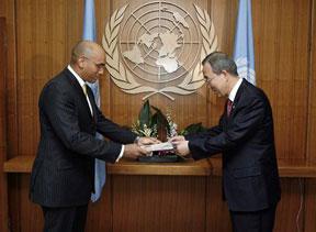 Dr Angus Friday and Ban Ki-Moon