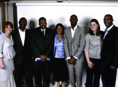 From left to right: Fiona Thomson, Otis Roberts (Trustee and Jason's uncle), Joseph Charter (High Commissioner for Grenada), Valerie Charter (wife of High Commissioner), Jason Robert's, Abigail Cochrane (Raitt Orr) and David Regis (Trustee and Jason Robert's uncle).