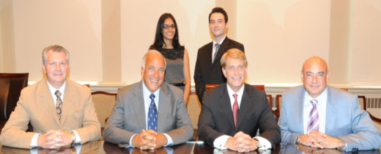 Pictured from left to right: (Back row) Sarina Bains of Cresskill and Matthew Pontell of River Vale, recipients of Hackensack University Medical Center (HackensackUMC) and St. George's University School of Medicine (SGUSOM) scholarship awards. (Front row) Ihor Sawczuk, M.D., executive vice president and chief medical officer, HackensackUMC; Charles R. Modica, chancellor, St. George's University School of Medicine; Robert C. Garrett, president and chief executive officer, HackensackUMC; and Joseph Feldman, M.D., chairman of the Emergency Medicine Department, HackensackUMC, director of Medical Education for SGUSOM, HackensackUMC. Not pictured: Krishna Choksi and Nauman Ramay.