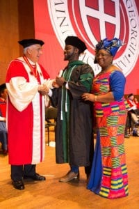 International medical school graduate at commencement.