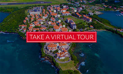 Take a virtual tour of the beautiful St. George's University campus located on the True Blue Peninsula on the Caribbean Sea.