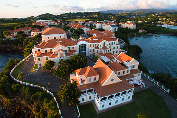 St. George's University, True Blue Campus extends into the Caribbean Ocean