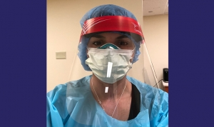 Megan Kwasniak, MD '08, an emergency medicine physician at Saint Mary's Medical Center in West Palm Beach, FL